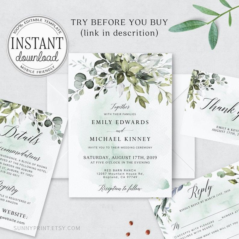 Boho Barn Wedding Invitation Template Printable Invite Template Bohemian Greenery Invites #081 Invitation Template Set Download