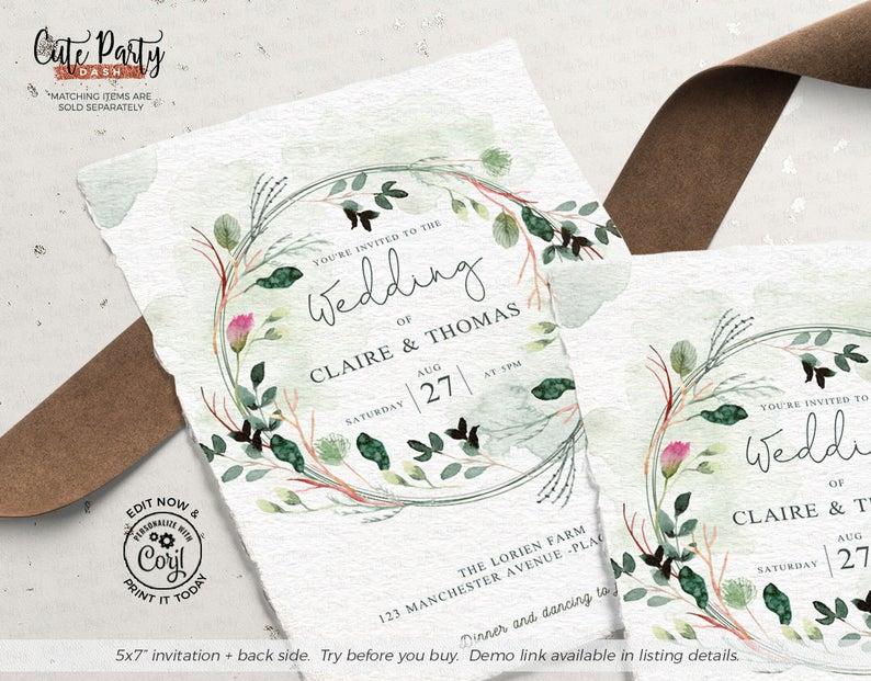 Quirky Original Dinosaurs Illustration Nerdy Invites Dinosaur Wedding Invitations Personalised Invitations With Envelopes Cute Green