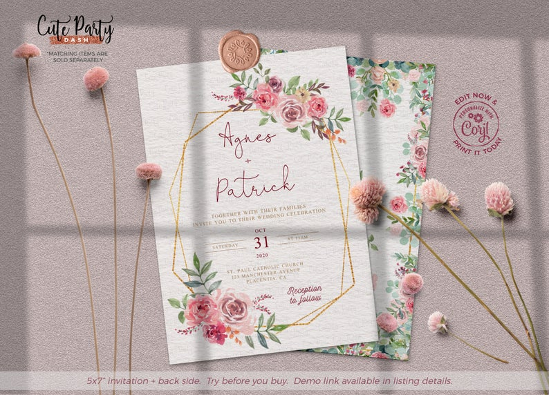 Floral- Try before you buy Editable WATER LILIES- Instant Download Wedding Cards Will you be my Bridesmaid Cards