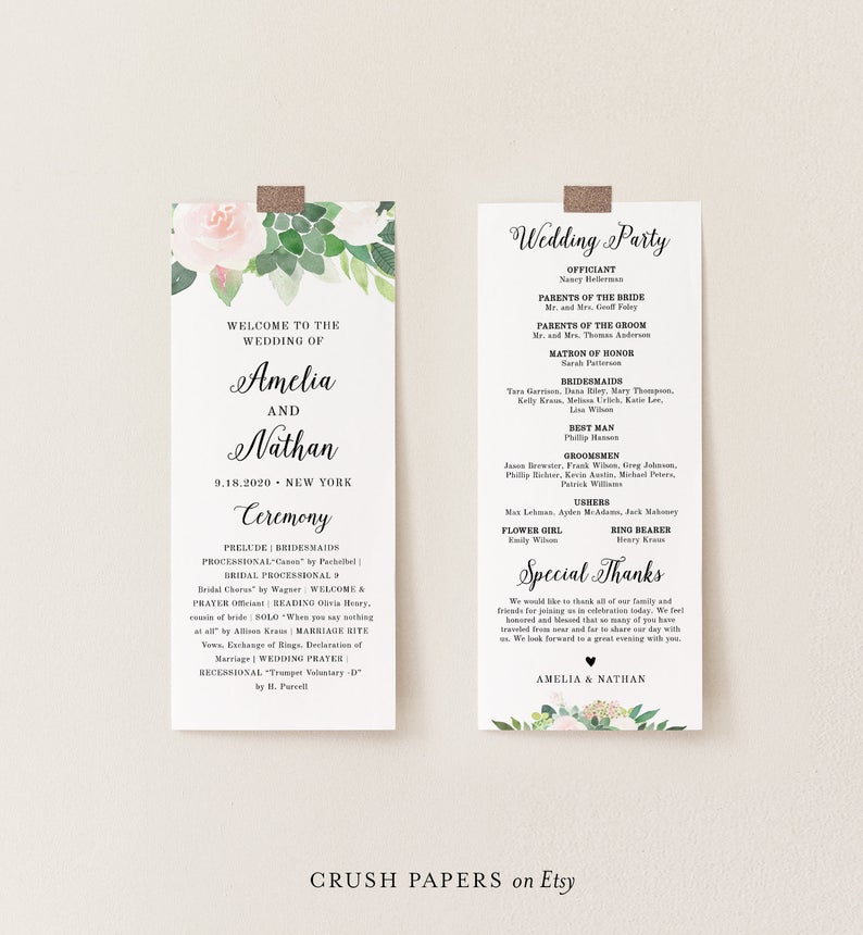 Printable Folded Program Navy /& Blush Wedding Ceremony Corjl #002-401WP Order of Service Wedding Program Template INSTANT DOWNLOAD
