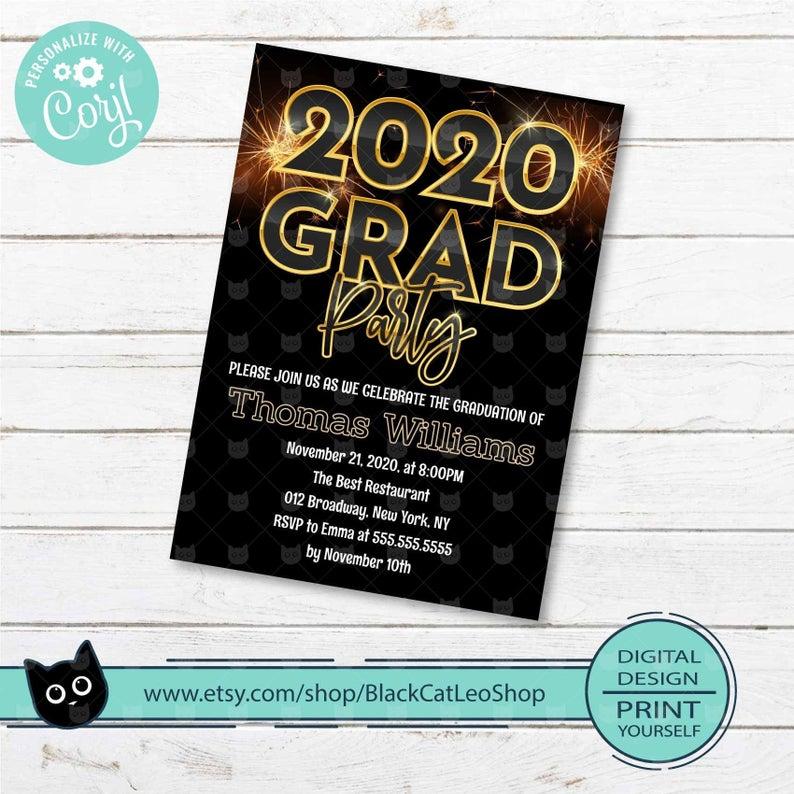 2020 Graduation Announcement Invitation Card Printable Download Editable personalize on Corjl PDF JPG photo farmhouse style simple modern