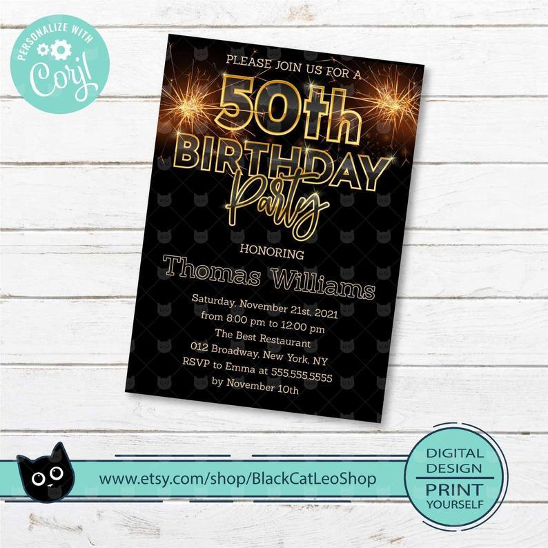 Surprise 50th Birthday Invitation Edit and Print Yourself Surprise 50th Birthday Invite