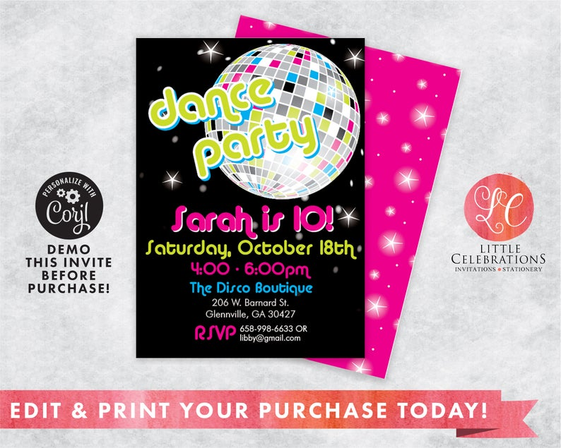 80s Birthday Party Invitation Template  Instant Download  Edit Invitation Online with Corjl 80s Themed Invitations