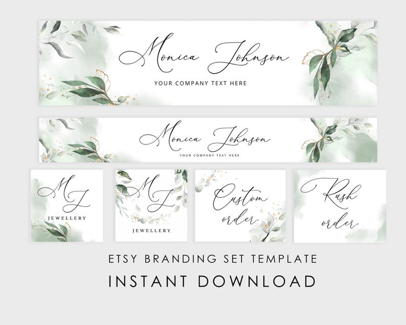 Etsy Banner  /& Icon Template INSTANT DOWNLOAD Editable DIY premade business branding set Victorian Steampunk teal black